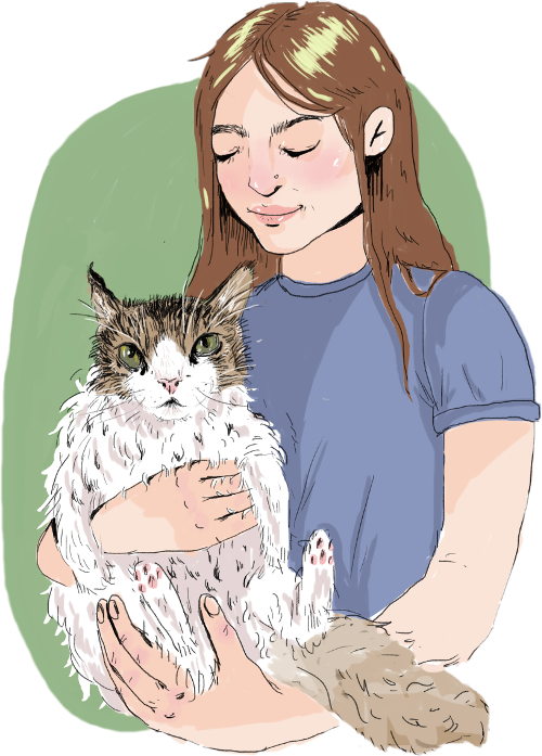 Illustration of Molly White holding her cat Max.